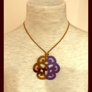 Jewelry - Violet resin and horn adjustable pendant necklace.